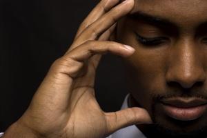 thinking praying man